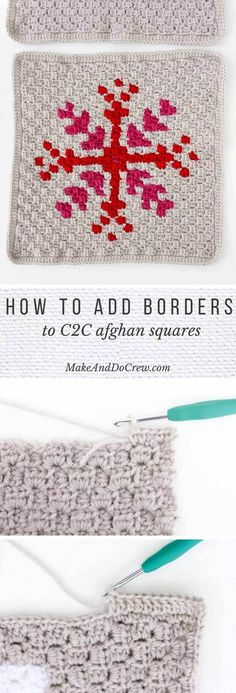 How To Add a Border to a Afghan Block - Detailed Photo Tutorial You've worked diligently on creating corner-to-corner crochet squares and now you're wondering what to do with them, right? This tutorial will show you how to add a single crochet and doub Crochet Afghans, Afghan Crochet Patterns, Diy Crochet, Crochet Crafts, Crochet Stitches, Crochet Edgings, C2c Crochet Blanket, Quick Crochet, Baby Afghans