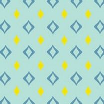 "Cocktail Lounge is a cascading pattern of medium-scale stylized marquise shapes in canary yellow and powder blue on a pale aqua background. Approximate Repeat Length*: 3'Approximate Design Repeat Width*: 2.5 ""VDL Price Group 1"