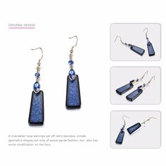 Stylish Blue Geometric Hook Earrings for Women Crystal Resin Dangle Drop Earring Jewelry Ladies & Girls Accessories Like and Share if you want this #Jewelry #shop #beauty #Woman's fashion #Products