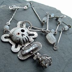 Sterling Silver SKULL Necklace stamped Carved Bones Herkimer Diamond OOAK pendant OUTRAGEOUS Statement piece Necklace
