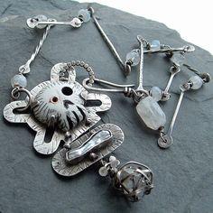 Sterling SKULL Necklace stamped silver Bones Herkimer by artdi