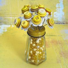 Shabby Yellow Vintage Inspired Button Flower Bouquet in Bead Filled Salt Shaker
