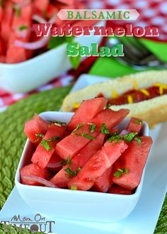 Balsamic Watermelon Salad - so light and refreshing it's perfect all summer long! MomOnTimeout.com