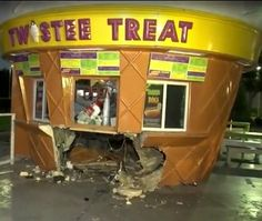A Florida driver crashed their car into a Twistee Treat ice cream stand.