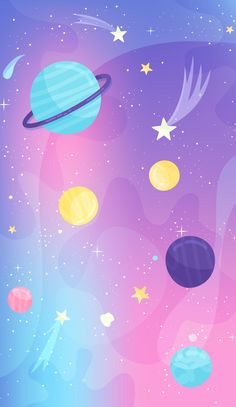 Excellent simple ideas for your inspiration Cartoon Wallpaper, Space Phone Wallpaper, Cute Galaxy Wallpaper, Cute Pastel Wallpaper, Planets Wallpaper, Aesthetic Pastel Wallpaper, Kawaii Wallpaper, Cute Wallpaper Backgrounds, Wallpaper Iphone Cute