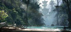 Art of Dechambo - Assassin's Creed IV Black Flag Concept Art Concept Art World, Game Concept Art, Environment Concept Art, Environment Design, Matte Painting, Fantasy Landscape, Landscape Art, Fantasy World, Fantasy Art