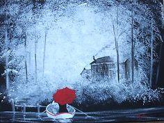 Jim Gillon Original Oil Acrylic Painting Canvas Boat Red Umbrella romantic art | eBay