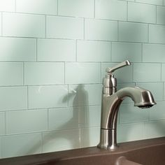 "Aspect Morning Dew 6"" x 3"" Glass Subway Backsplash Tile Kit & Reviews 