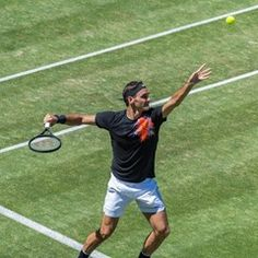 Roger Federer trains ahead of the Mercedes Cup in Stuttgart, Germany
