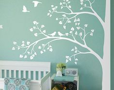 All White Tree Wall Decal Huge Corner Tree with Leaves and Birds Nursery Decor Large Tree Mural  White Whimsical Tree Wall Sticker 011
