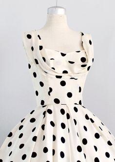 p . 1221 • 1950s Ceil Chapman cream silk polka dot...