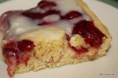Amish Cook's Cherry Cheesecake    Cherry Coffeecake    1 cup of butter, softened  1 1/2 cups sugar  4 large eggs, beaten  1 tsp vanilla extract  3 cups flour  1 1/2 tsp baking powder  1/2 teaspoon salt  21 oz cherry pie filling    Glaze    3 tablespoons butter  2 1/2 cups powdered sugar  1 tsp vanilla extract  6 tbsp milk Sweet Desserts, Just Desserts, Delicious Desserts, Yummy Food, Cherry Desserts, Amish Recipes, Cake Recipes, Cooking Recipes, Dutch Recipes