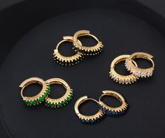 Fashion Hoop Earring 18k Gold Plated Copper Earrings Multicolor Square Crystal