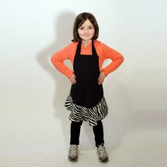 black zebra print apron  girls one size fits most by jordandene, $30.00