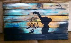 dream catcher girl silhouette and sun set pallet sign rustic distressed handcrafted by Doh Doh's Boutique in Buckeye, AZ. Arizona native, native American, home décor, dreams, silhouette sign www.facebook.com/dohdohsboutique   dohdohsboutique@gmail.com