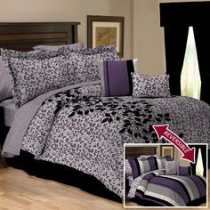 Ava Purple Reversible 10 Piece Comforter Set $100.00