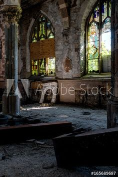 Broken Stained Glass Windows & Collapsing Floor - Abandoned Church - Buy this stock photo and explore similar images at Adobe Stock Stained Glass Art, Stained Glass Windows, Abandoned Churches, Conservatory, Art And Architecture, Art Tutorials, Stock Photos, Flooring, Explore