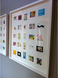 Scan your kids' art work, then print out in smaller size. Put multiples in gallery frames together. LOVE this idea!!!