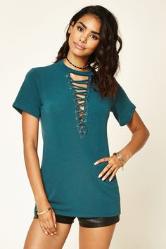 Lace-Up Boxy French Terry Top $18 also in Burgundy & Mustard