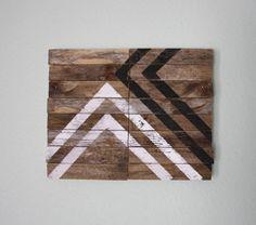 Meeting Place / Modern Industrial Design / Reclaimed Driftwood Artwork / Southwest / Black / White / Minimalist / Arrow