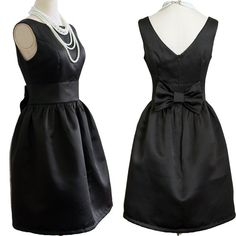 Black Bridesmaid Dress Audrey Hepburn Dress by Prettyobession, $75.00. This could be cute if the seller could make it in midnight blue!