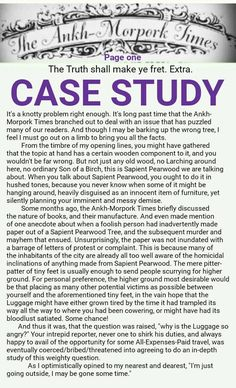 The Ankh-Morpork Times. The Truth shall make ye fret. Extra. CASE STUDY. page one, by David Green 5 Oct 2016