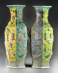 Pair Chinese Famille Rose Porcelain Vases Octagonal enameled vases with applied decoration of many treasures, each panel on a different colored ground, molded frog handles, H. Chinese Ceramics, Pottery Making, China Porcelain, Chinese Art, Chinoiserie, Asian Art, Art Decor, Sculptures, Eggshell