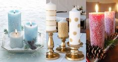 como decorar velas navideñas Home Deco, Pillar Candles, Candle Holders, Christmas, Handmade, Elsa, Cactus, Ideas, Handmade Candles