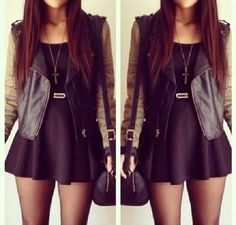 Leather jacket, short skater dress, all black