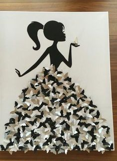 Kleid aus Schmetterlingen Frau Maedchen mit Zopf Leinwand Bild stempeljuli (Cool… Dress made of butterflies woman girl with braid canvas picture stamp July (Cool … Dress made of butterflies woman girl with braid canvas picture stamp July (Cool …, Crafts To Sell, Fun Crafts, Crafts For Kids, Arts And Crafts, Paper Crafts, Butterfly Wall Art, Butterfly Crafts, Paper Butterflies, Butterfly Dress