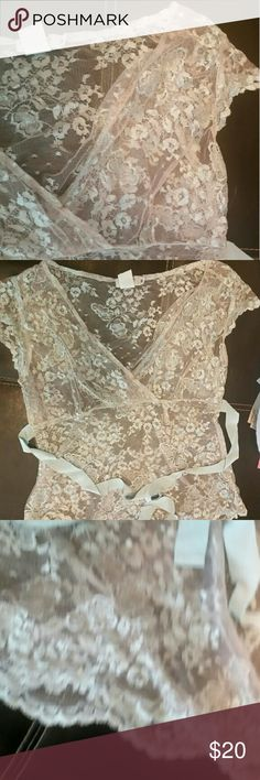 Lace top Shere Lace  top very lite blue color bella notte Tops Blouses