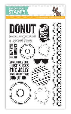 This unusual stamp set proves you can make a card and saying out of (almost) anyhthing! Including donuts! | I love Donuts by Simon Says Stamp!