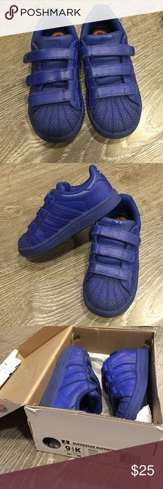 Superstar supercolor CF I adidas Pharrell Gently worn. Super cute. Electric blue. Strap closure. Comes with shoe box if pay listed price Adidas Shoes Sneakers