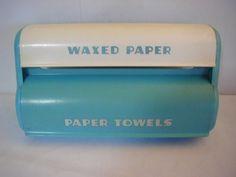 Vintage 1950s Lustro Ware aqua paper towel/waxed paper holder plastic