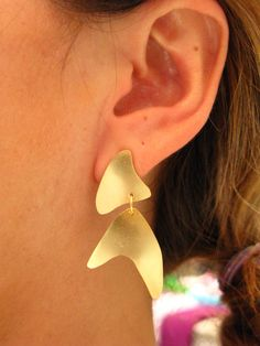 Emorphic Shaped Dangle Contemporary Post Earrings- Sterling Silver Gold Plated
