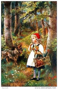 Little Red Riding Hood and the wolf Images Vintage, Vintage Art, Image Halloween, Hansel Y Gretel, Red Ridding Hood, Wolf, Fairytale Art, Children's Book Illustration, Food Illustrations
