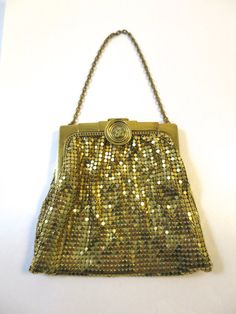 Gold Mesh Hand Bag w/ Chain Signed Whiting & Davis Bag Round Rhinestone Clasp Accent 1930's Made in USA Evening Bag Formal Prom Wedding Bag