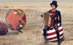 Vogue Korea May 2013 'Show Girl' | 이효리 Lee HyoRi | Michael Kors red and black stripe knit bodysuit | Steve J & Yoni P crystal-embedded stocking | Tom Ford gladiator boots | Chanel metal-beaded necklace, pearl bracelet | Jamie&Bell lace cap