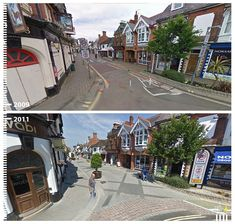 Horsham, an English market town, looks like a postcard with its patterned pavement.