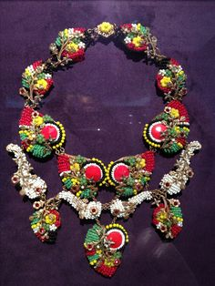 Miriam Haskell multi colored necklace beads red green ethnic fruit