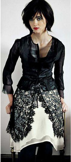 Odille Anthropologie very rare 2005 black white lace Drawing Room Skirt 2 NWT #Anthropologie #FullSkirt