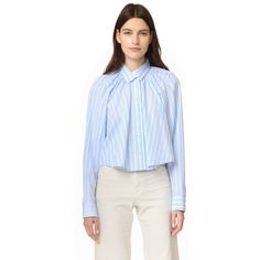 Tome Oversized Gathered Shirt (35,580 INR) ❤ liked on Polyvore featuring tops, blue collared shirt, long-sleeve shirt, button up collared shirts, long sleeve button down shirts and blue top
