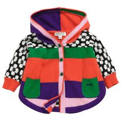 Kenzo Kids - Multicoloured poncho with a hood - 45548