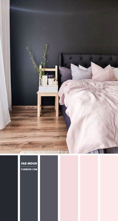 A touch of color can transform the most subtle, plain looking bedroom into a cozy, pleasing to the eye room. Colors on the walls. Bedroom Colour Palette, Bedroom Wall Colors, Bedroom Color Schemes, Blush Color Palette, Pink Color Schemes, Black Bedroom Furniture, Home Decor Bedroom, Blush Bedroom Decor, Pink Furniture