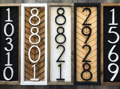 Custom Wood Signs, Wooden Signs, House Number Signs, Diy House Numbers, Farmhouse House Numbers, House Address Numbers, Home Number, House Numbers Modern, Diy House Number Plaques