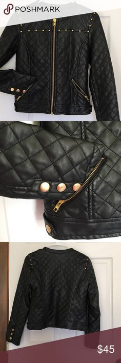 QUILTED VEGAN LEATHER JACKET. Durable. Xs- small. This jacket looks and feels like leather. Very durable too. Custom studded. Bold look. Perfect with any outfit. Retails for $128. Boutique brand. Fits xs to small. Jackets & Coats