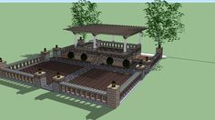 GeoStone retaining walls, pavers, and columns used to create 2 level courtyard for retail display. Modular Walls, 3d Warehouse, Outdoor Gardens, Modern, Retaining Walls, Trendy Tree