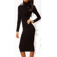 Women Dresses Autumn Wholesale New Fashion Full Sleeve Mid-Calf Pencil Maxi Bodycon Party Dresses