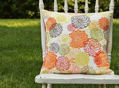 Throw Pillow Cover Orange Blossom Orange Brown Yellow Floral Explosion 16 x 16 Handmade by Willow Handmade. $16.00, via Etsy.