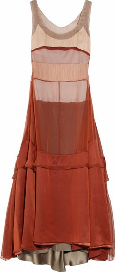 Narciso Rodriguez Silk-mousseline Платье в Браун (медь)